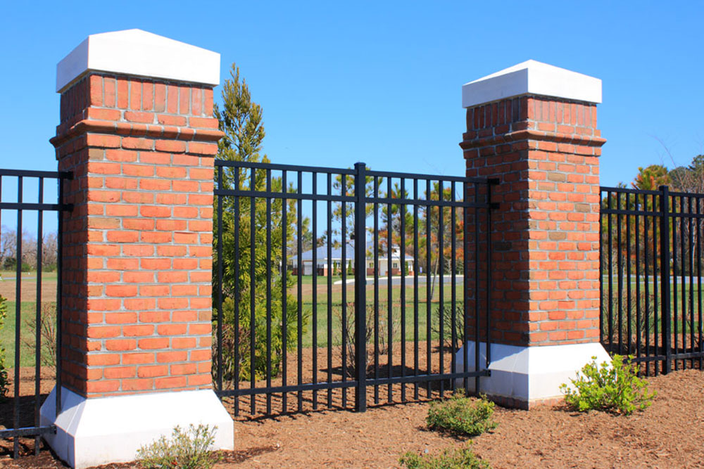 Aluminum Gate with Brick- Fence Contractors Baltimore County, Maryland. Excel Fencing & Decking