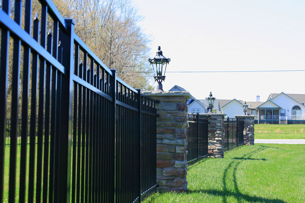 Black Fence with Stone Features - Fence Installers in Baltimore County, MD. Excel Fencing